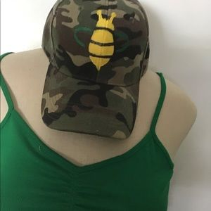 Accessories - Camouflage Baseball Cap Hand Painted Honey  Bee..